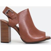 Sapato Peep Toe Em Couro