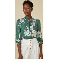 Camisa Amaro Folk Tie Flat Flower Green - Verde - Feminino - Dafiti