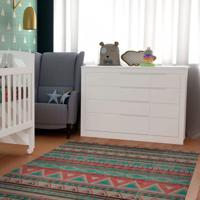 Cômoda De Bebê Fraldário 1 Porta 5 Gavetas Cléo Carolina Baby Branco Fosco