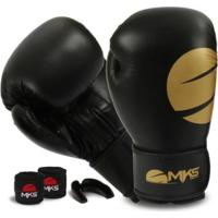 Kit Boxe Mks Champions Gold + Bucal E Bandagem - Unissex