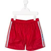 Moncler Kids Logo Embroidered Swim Shorts - Vermelho