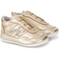 Hogan Kids Lace-Up Low-Top Sneakers - Dourado