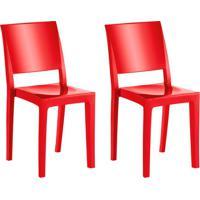 Conjunto Com 2 Cadeiras De Plástico Hydra Vermelho