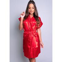 Robe Mvb Modas Noiva Roupão Cetim Personalizado Vermelho - Kanui