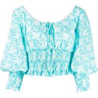 Rixo Puffed Sleeve Blouse - Azul