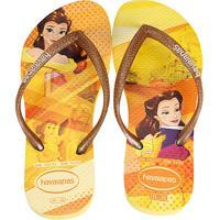 Chinelo Infantil Havaianas Slim Disney Princesas - Unissex-Amarelo Claro