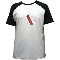 Camiseta Alkary Raglan Manga Curta Canivete Suiço Branca E Preta