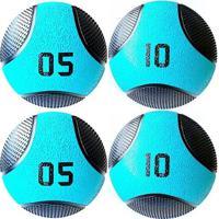 Kit 4 Medicine Ball Liveup Pro 5 E 10 Kg Bola De Peso Treino Funcional - Unissex