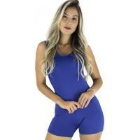 Macaquinho Mvb Modas Liso Suplex Fitness Academia Ginástica Curto Azul