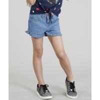 Short Jeans Infantil Com Babados Azul Claro