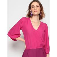 Blusa Com Transpasse - Pink - Chocoleitechocoleite