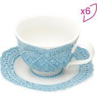Jogo De Xícaras Para Chá Givemy- Branco & Azul Clarorojemac