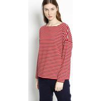 Blusa Listrada Em Piquãª- Vermelha & Branca- Lacostelacoste