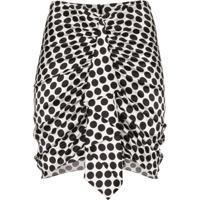 Alexandre Vauthier Ruffled Polka-Dot Mini Skirt - Branco