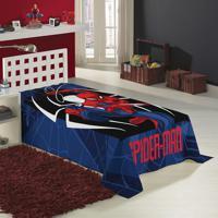 Manta Fleece Solteiro Lepper Estampada Spider Man Azul
