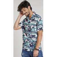 826b7c92d9 CEA  Camisa Masculina Estampada Tropical Manga Curta Gola Esporte Azul  Escuro