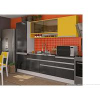Cozinha Modulada Completa 5 Módulos 100% Mdf Branco/Ébano/Gold - Glamy
