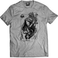 Camiseta Manga Curta Skull Clothing Rei E Rainha Cinza