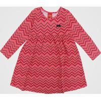 Vestido Kyly Infantil Geométrico Rosa/Laranja