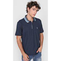 Camisa Polo Aleatory Reta Padronagens Azul-Marinho