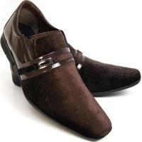 Sapato Social Couro Schiareli Verniz Masculino - Masculino-Marrom