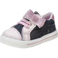 Tênis Menina Fashion Bebê Velcro Elástico Laço Rosa 157.34.031 Jeans/Rosa