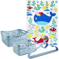 Conjunto Cesto Organizador Retangular 2 Peças E Cabide C/ 5 Pçs Lifestyle E Adesivo Para Criança Jacki Design Azul - Kanui