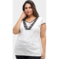 Blusa Heli Plus Size Rendada Feminina - Feminino-Branco