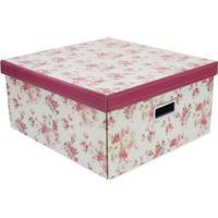 Caixa Organizadora G Floral- Bege & Vermelha- 20X40Xboxmania