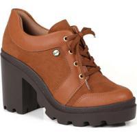 Sapato Oxford Feminino Quiz Recortes Caramelo