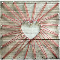 Quadro String Art Small- Bege Escuro & Vermelho- 20,Urban