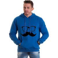 Moletom Azul Canguru Lucas Lunny Oculos Bigode