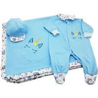 Kit I9 Baby Saída Maternidade 4 Peças Unicórnio Azul