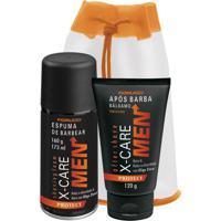 Kit Barba X-Care Men Protect Espuma De Barbear 160G + Gel Após Barba 120G