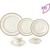 Aparelho De Jantar De Porcelana- Branco & Dourado- 4Rojemac