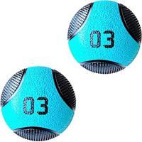 Kit 2 Medicine Ball Liveup Pro A 3 Kg Bola De Peso Treino Funcional - Unissex