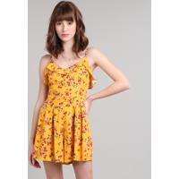 Macaquinho Feminino Estampado Floral Com Botões Alças Finas Amarelo