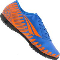 Chuteira Society Penalty Storm Speed Ix Tf - Adulto - Azul/Laranja