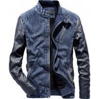 Jaqueta Masculina Jeans Com Couro Michigan - Azul
