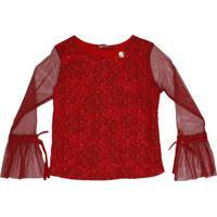 Blusa Com Bordado - Vermelhagabriela Aquarela
