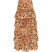 Mara Hoffman Marzia Tiered Ruffle Midi Skirt - Marrom