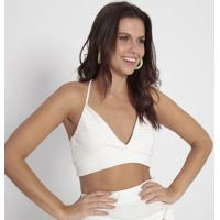 Blusa Cropped Texturizada- Off White- Heringhering