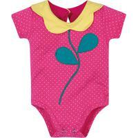 Body Florzinha Poã¡- Pink & Amarelo- Baby- Brandibrandili