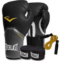 Kit Boxe Everlast - Luva Preta 8Oz + Bandagem + Corda - Unissex