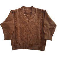 Blusa De Lã Com Losangos E Tranças Tricô Kids Caramelo
