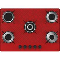 Cooktop 5 Bocas Tripla Chama Tetris Vermelho Bivolt