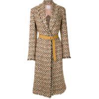 Nk Casaco Longo Tweed Com Cinto - Estampado