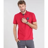056b5c330 Polo Ralph Lauren Vermelha. Polo Masculina Maquinetada Com Patch Manga  Curta Vermelha