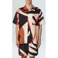 Camisa Masc Linen Tropi-Preto/Terra - P