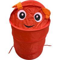 Cesto Organizador Roupa Suja Brinquedos Dobrável Infantil Vermelho
